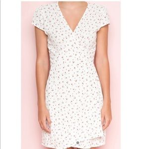 White floral wrap dress from Brandy Melville